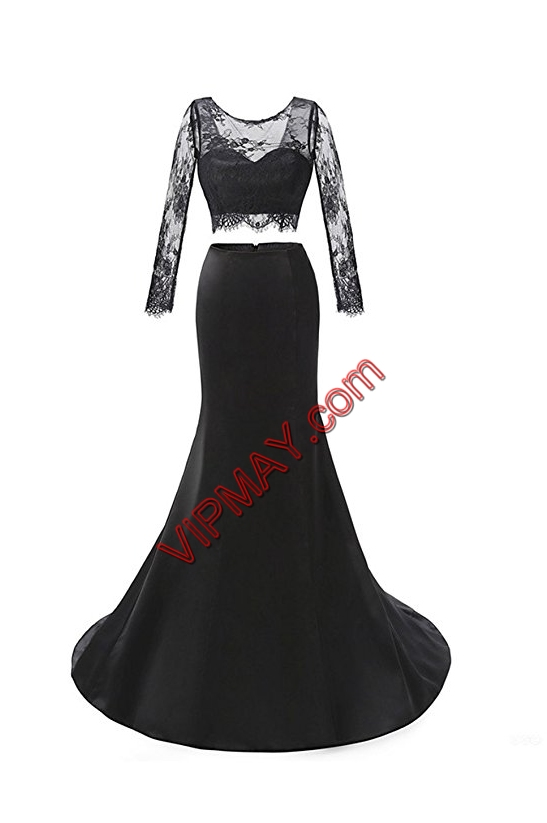 Sexy Black Long Sleeves Sweep Train Backless Evening Dress for Prom and Party and Military Ball